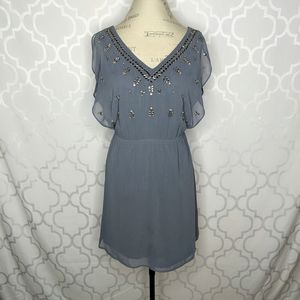 Victoria Secret Gray Blue Rhinestones Flowy Dress